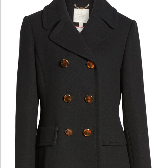 NWT Kate Spade Double Breasted Wool Twill Coat